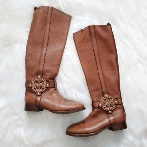 TORY BURCH Brown Leather Tall Riding Boots